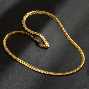 "Jewelry - 18K Gold Plated 20"" - 5mm Flat Necklace Chain NEW"